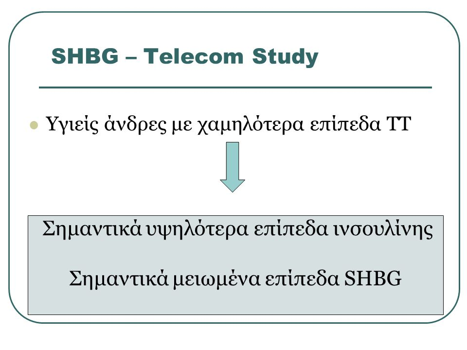 SHBG – Τelecom Study Σημαντικά υψηλότερα επίπεδα ινσουλίνης