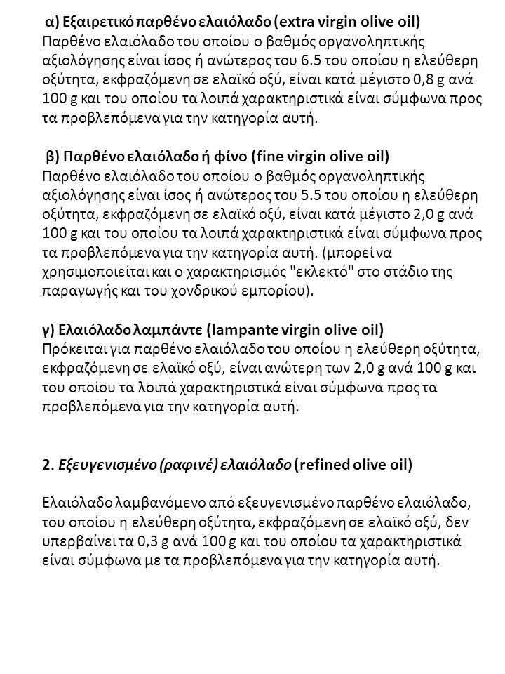 α) Εξαιρετικό παρθένο ελαιόλαδο (extra virgin olive oil) Παρθένο ελαιόλαδο του οποίου ο βαθμός οργανοληπτικής αξιολόγησης είναι ίσος ή ανώτερος του 6.5 του οποίου η ελεύθερη οξύτητα, εκφραζόμενη σε ελαϊκό οξύ, είναι κατά μέγιστο 0,8 g ανά 100 g και του οποίου τα λοιπά χαρακτηριστικά είναι σύμφωνα προς τα προβλεπόμενα για την κατηγορία αυτή.