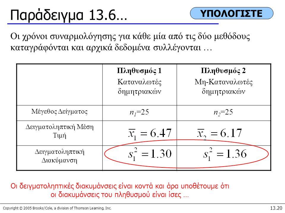 Παράδειγμα 13.6… ΥΠΟΛΟΓΙΣΤΕ