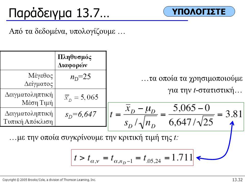 Παράδειγμα 13.7… ΥΠΟΛΟΓΙΣΤΕ Από τα δεδομένα, υπολογίζουμε … nD=25