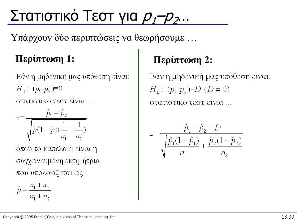 Στατιστικό Τεστ για p1–p2…