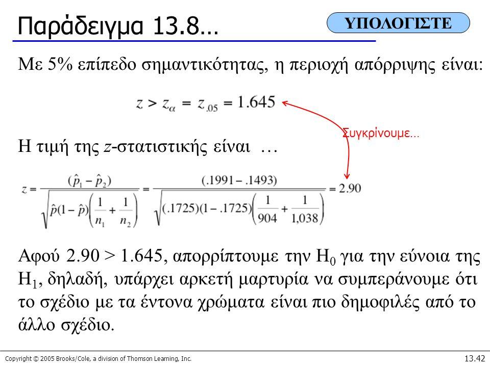 Παράδειγμα 13.8… ΥΠΟΛΟΓΙΣΤΕ. Με 5% επίπεδο σημαντικότητας, η περιοχή απόρριψης είναι: Η τιμή της z-στατιστικής είναι …