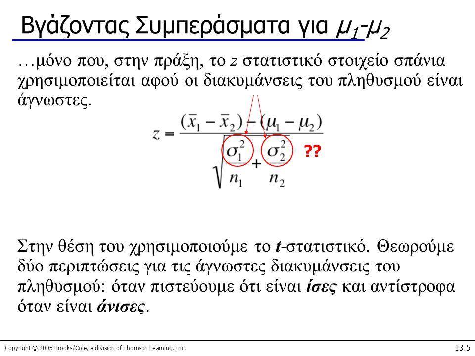 Βγάζοντας Συμπεράσματα για μ1-μ2