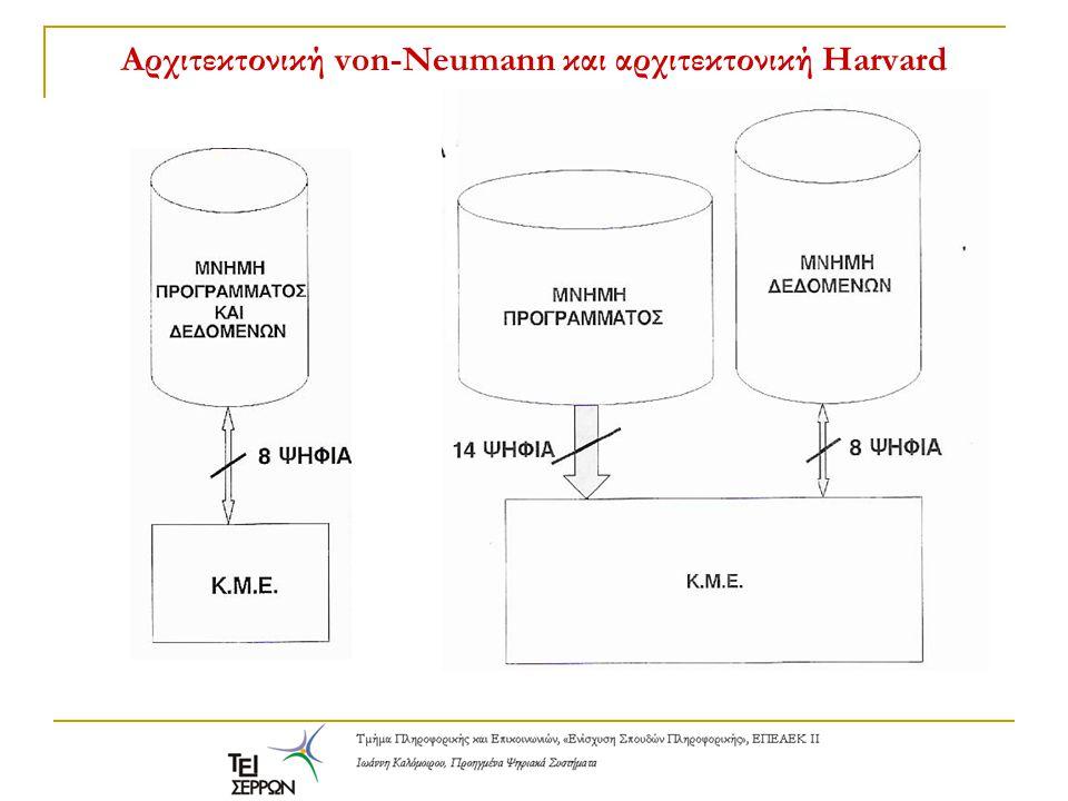 Αρχιτεκτονική von-Neumann και αρχιτεκτονική Harvard