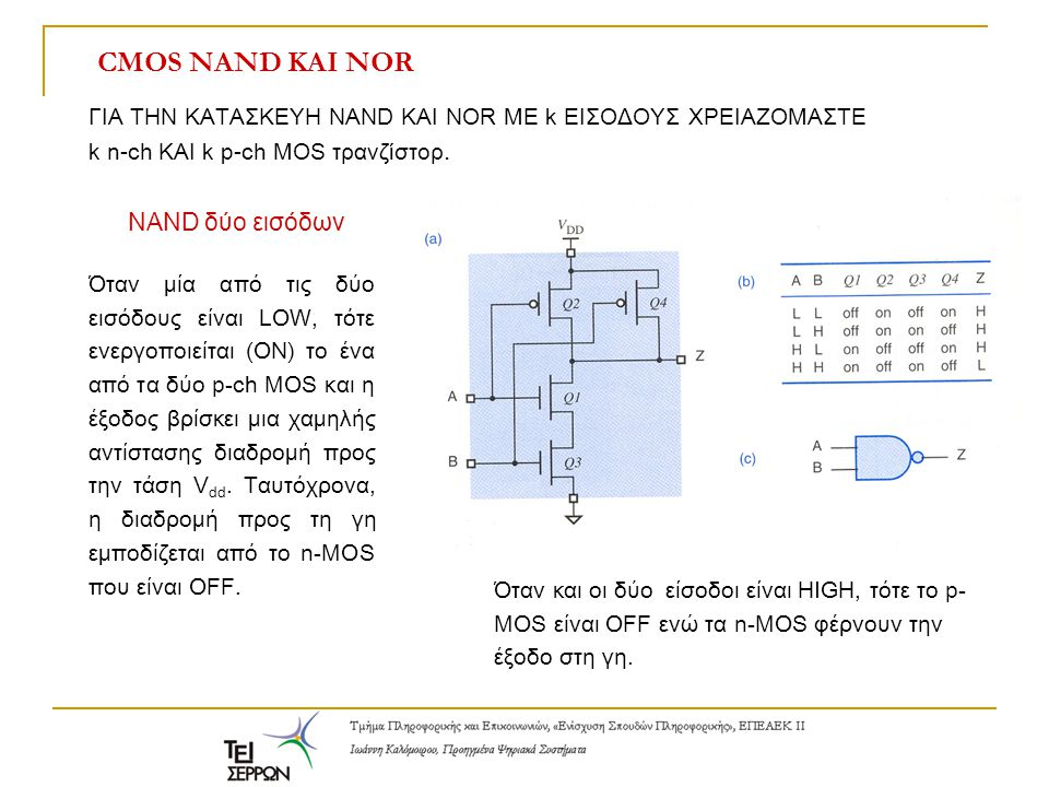 CMOS NAND ΚΑΙ NOR NAND δύο εισόδων