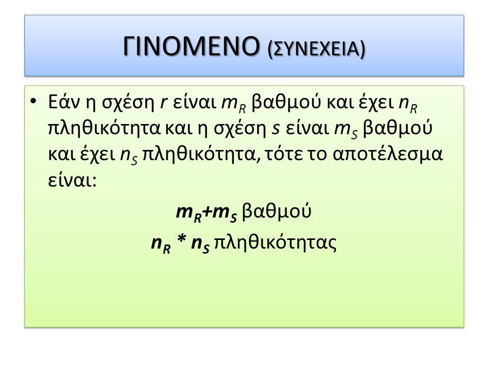 ΓΙΝΟΜΕΝΟ (ΣΥΝΕΧΕΙΑ)