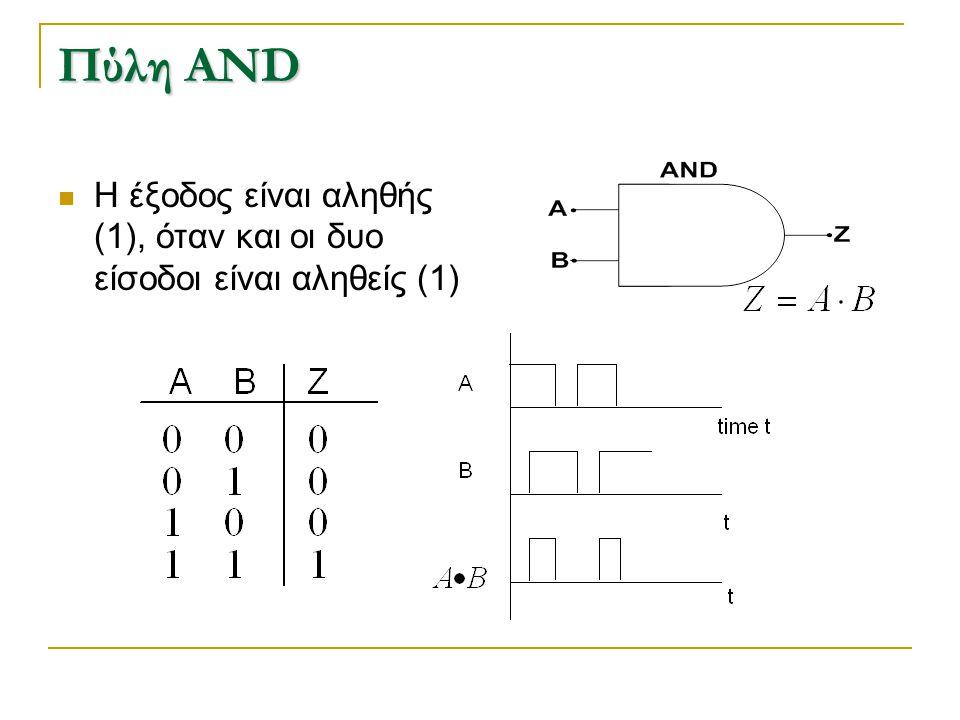Πύλη AND H έξοδος είναι αληθής (1), όταν και οι δυο είσοδοι είναι αληθείς (1)