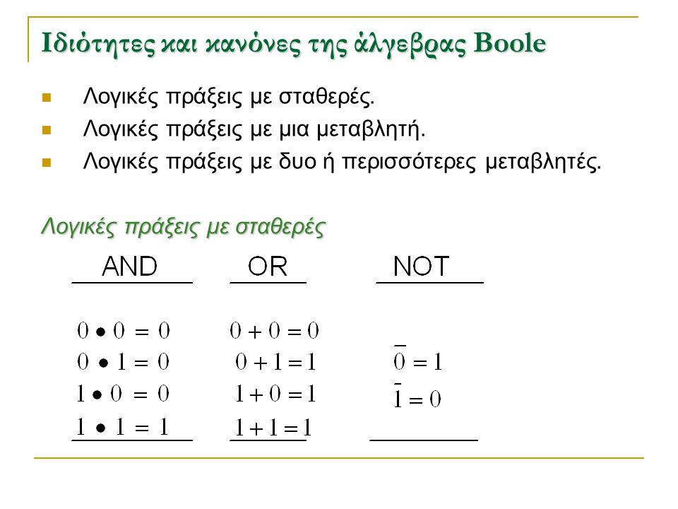 Ιδιότητες και κανόνες της άλγεβρας Boole