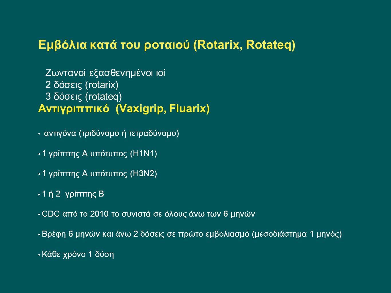 Εμβόλια κατά του ροταιού (Rotarix, Rotateq) Ζωντανοί εξασθενημένοι ιοί 2 δόσεις (rotarix) 3 δόσεις (rotateq)