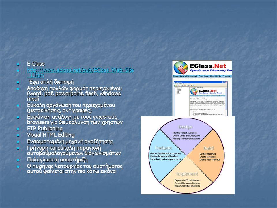 E-Class http://www.eclass.net/pub/EClass_Web_Site_1.htm. Έχει απλή διεπαφή.