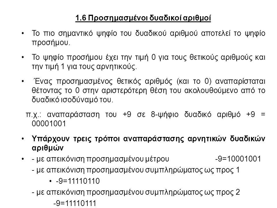 1.6 Προσημασμένοι δυαδικοί αριθμοί