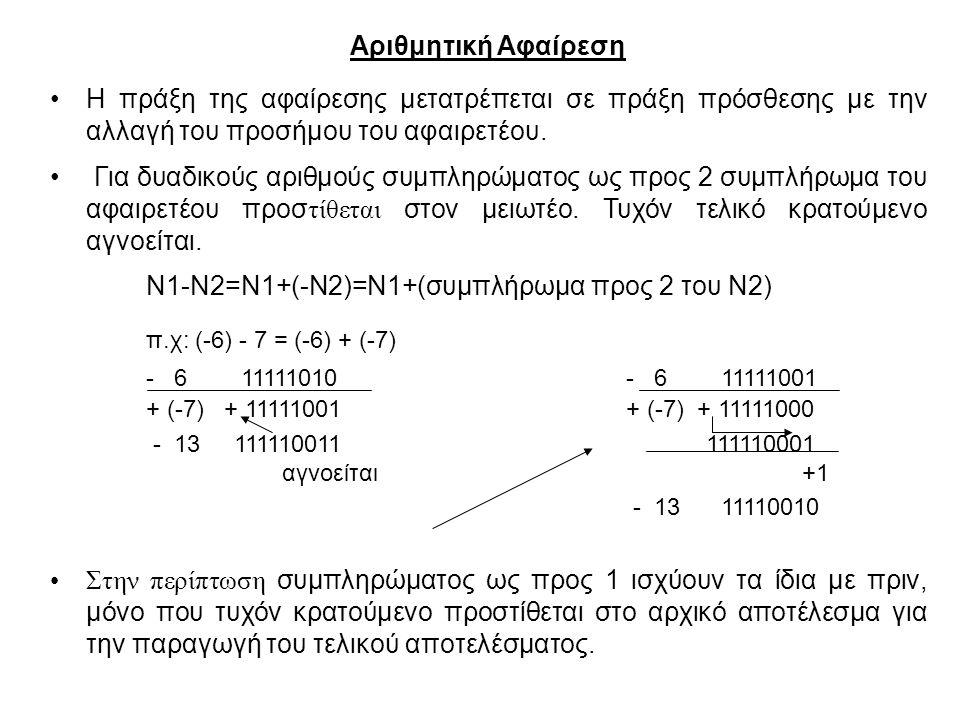 Ν1-Ν2=Ν1+(-Ν2)=Ν1+(συμπλήρωμα προς 2 του Ν2)
