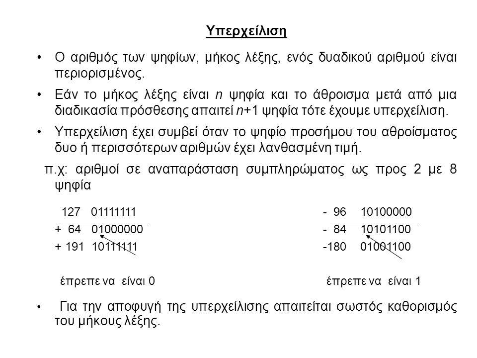 π.χ: αριθμοί σε αναπαράσταση συμπληρώματος ως προς 2 με 8 ψηφία