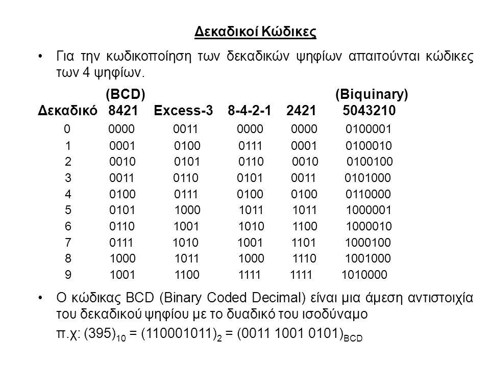 Δεκαδικοί Κώδικες Για την κωδικοποίηση των δεκαδικών ψηφίων απαιτούνται κώδικες των 4 ψηφίων. (BCD) (Biquinary)