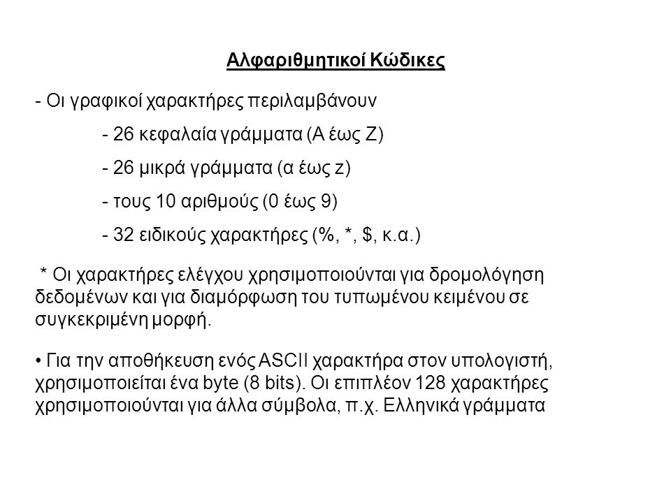 Αλφαριθμητικοί Κώδικες