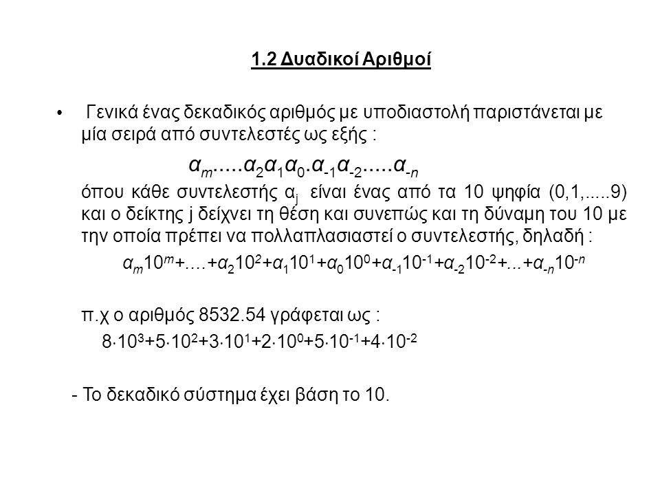 1.2 Δυαδικοί Αριθμοί Γενικά ένας δεκαδικός αριθμός με υποδιαστολή παριστάνεται με μία σειρά από συντελεστές ως εξής :