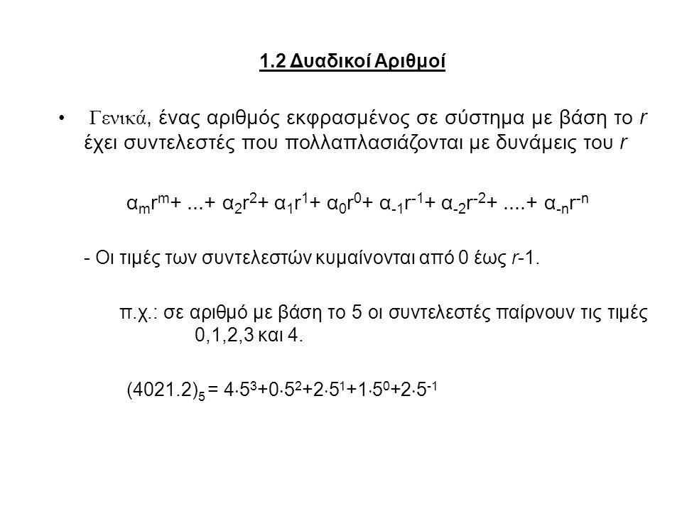 1.2 Δυαδικοί Αριθμοί Γενικά, ένας αριθμός εκφρασμένος σε σύστημα με βάση το r έχει συντελεστές που πολλαπλασιάζονται με δυνάμεις του r.