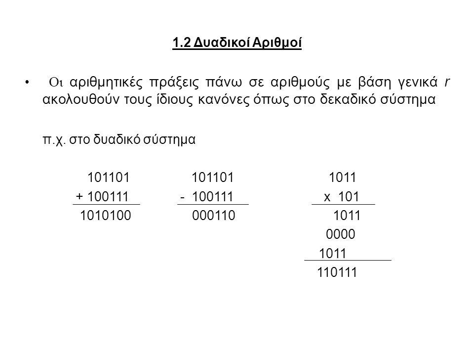 1.2 Δυαδικοί Αριθμοί Οι αριθμητικές πράξεις πάνω σε αριθμούς με βάση γενικά r ακολουθούν τους ίδιους κανόνες όπως στο δεκαδικό σύστημα.