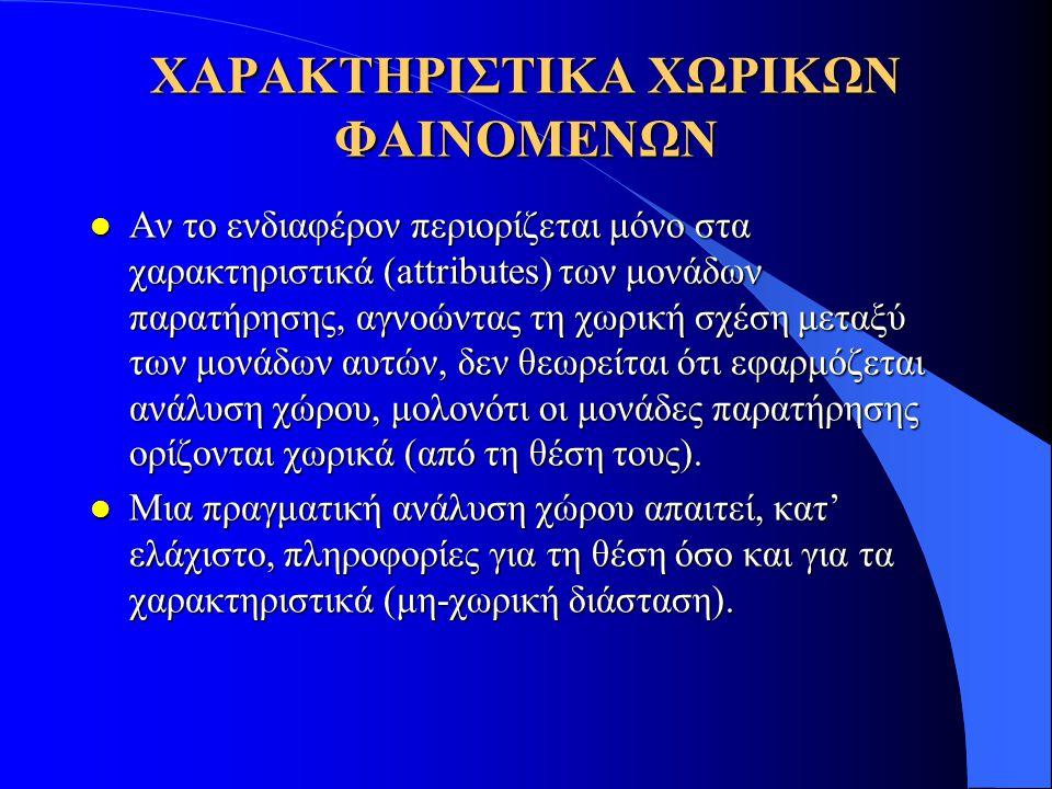 ΧΑΡΑΚΤΗΡΙΣΤΙΚΑ ΧΩΡΙΚΩΝ ΦΑΙΝΟΜΕΝΩΝ