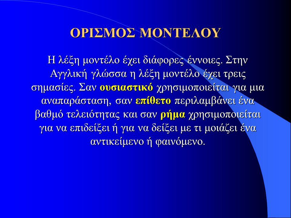 ΟΡΙΣΜΟΣ ΜΟΝΤΕΛΟΥ