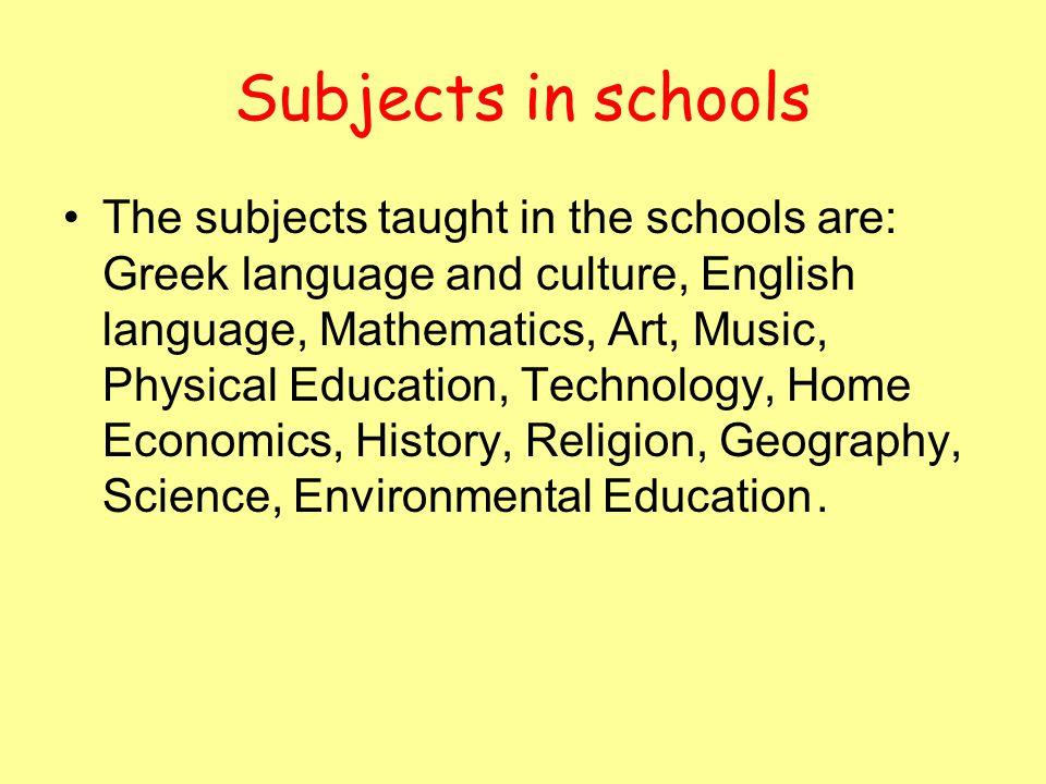 Subjects in schools