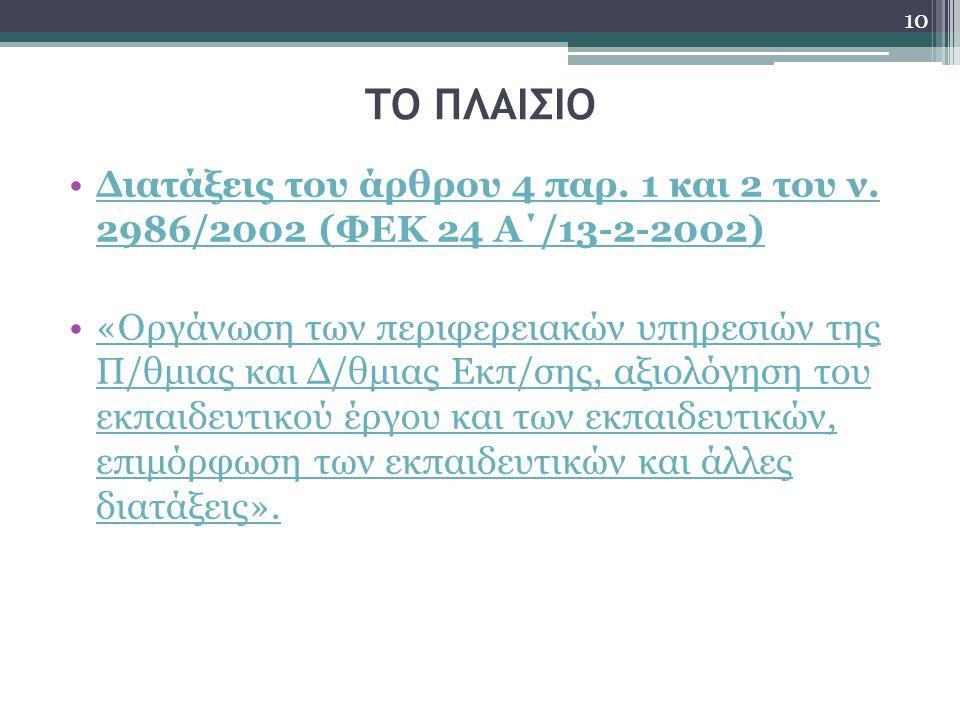 ΤΟ ΠΛΑΙΣΙΟ Διατάξεις του άρθρου 4 παρ. 1 και 2 του ν. 2986/2002 (ΦΕΚ 24 Α΄/13-2-2002)