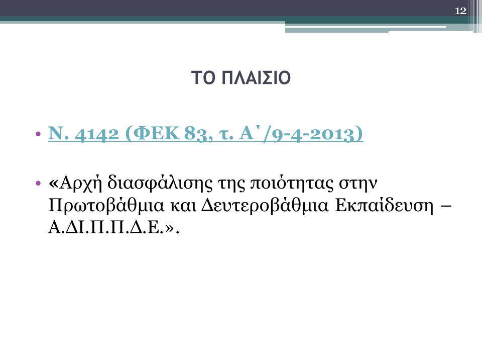 ΤΟ ΠΛΑΙΣΙΟ Ν. 4142 (ΦΕΚ 83, τ.