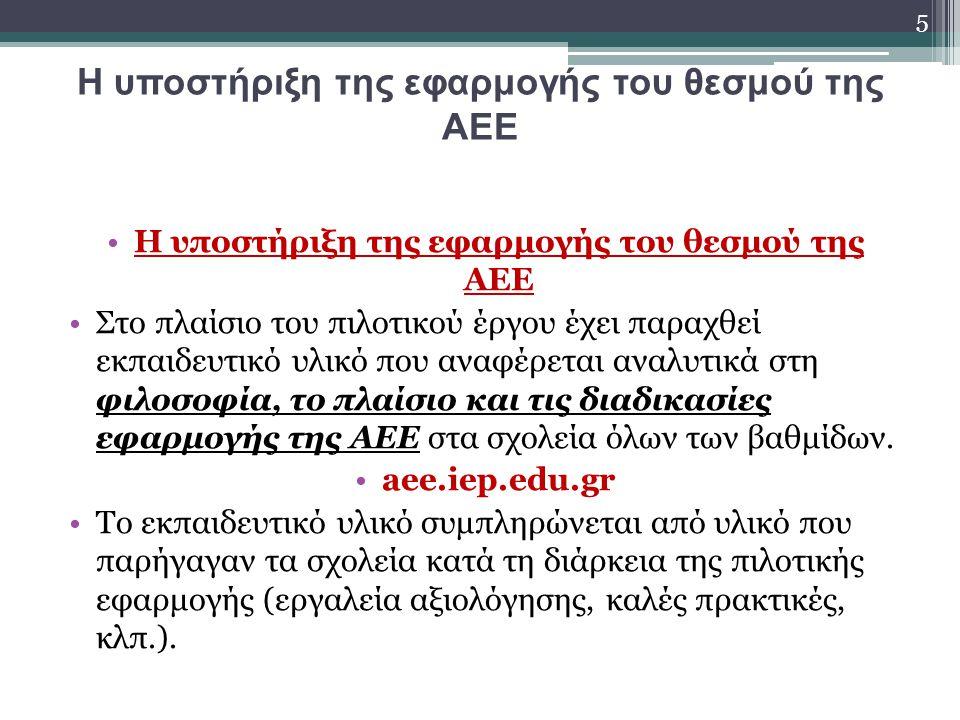 Η υποστήριξη της εφαρμογής του θεσμού της ΑΕΕ