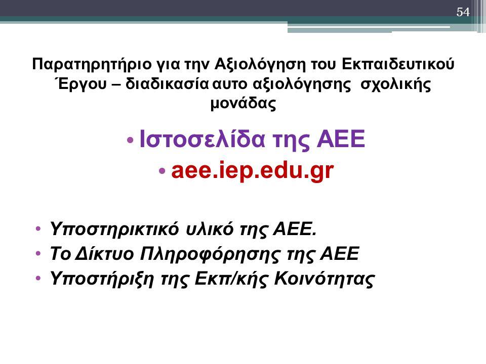 Iστοσελίδα της ΑΕΕ aee.iep.edu.gr