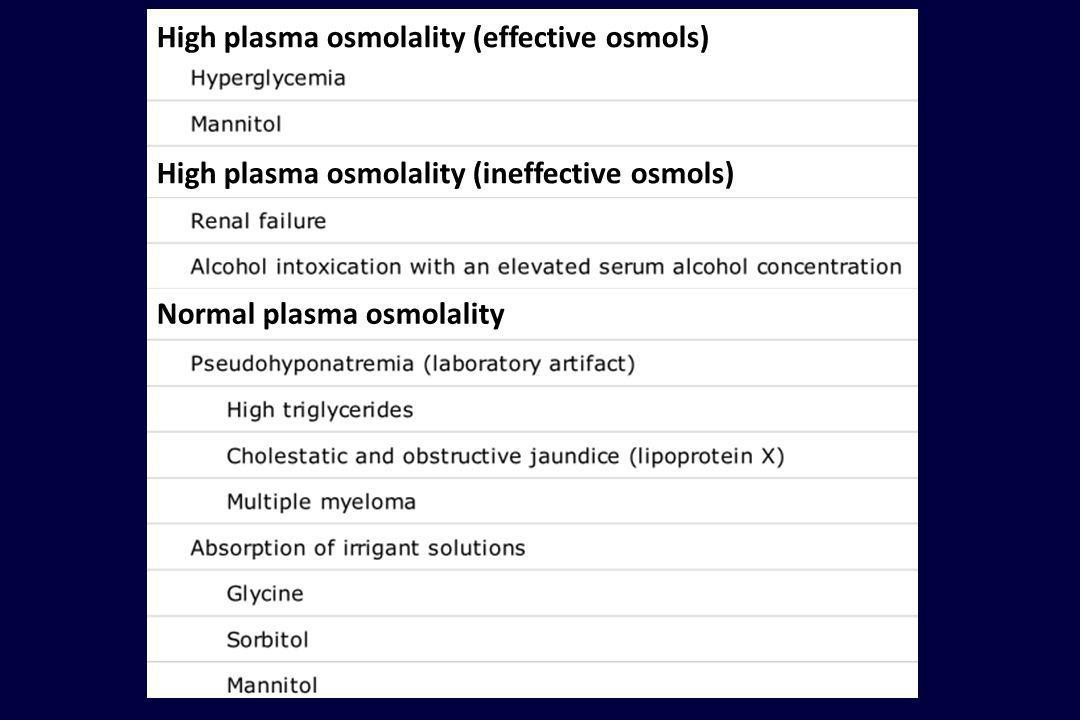 High plasma osmolality (effective osmols)