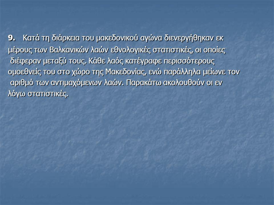 9. Κατά τη διάρκεια του μακεδονικού αγώνα διενεργήθηκαν εκ