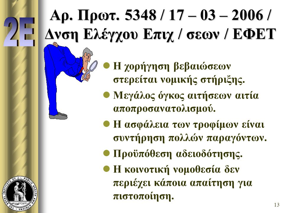 Αρ. Πρωτ. 5348 / 17 – 03 – 2006 / Δνση Ελέγχου Επιχ / σεων / ΕΦΕΤ