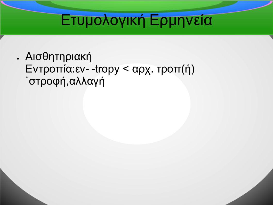 Ετυμολογική Ερμηνεία Αισθητηριακή Εντροπία:εν- -tropy < αρχ. τροπ(ή) `στροφή,αλλαγή