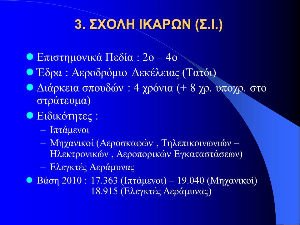 3. ΣΧΟΛΗ ΙΚΑΡΩΝ (Σ.Ι.) Επιστημονικά Πεδία : 2ο – 4ο