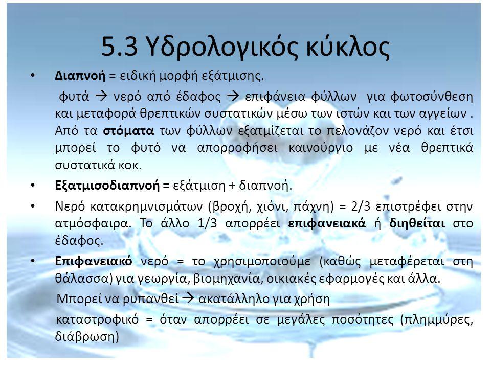 5.3 Υδρολογικός κύκλος Διαπνοή = ειδική μορφή εξάτμισης.