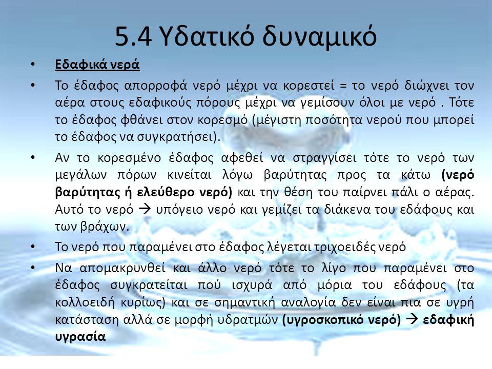 5.4 Υδατικό δυναμικό Εδαφικά νερά