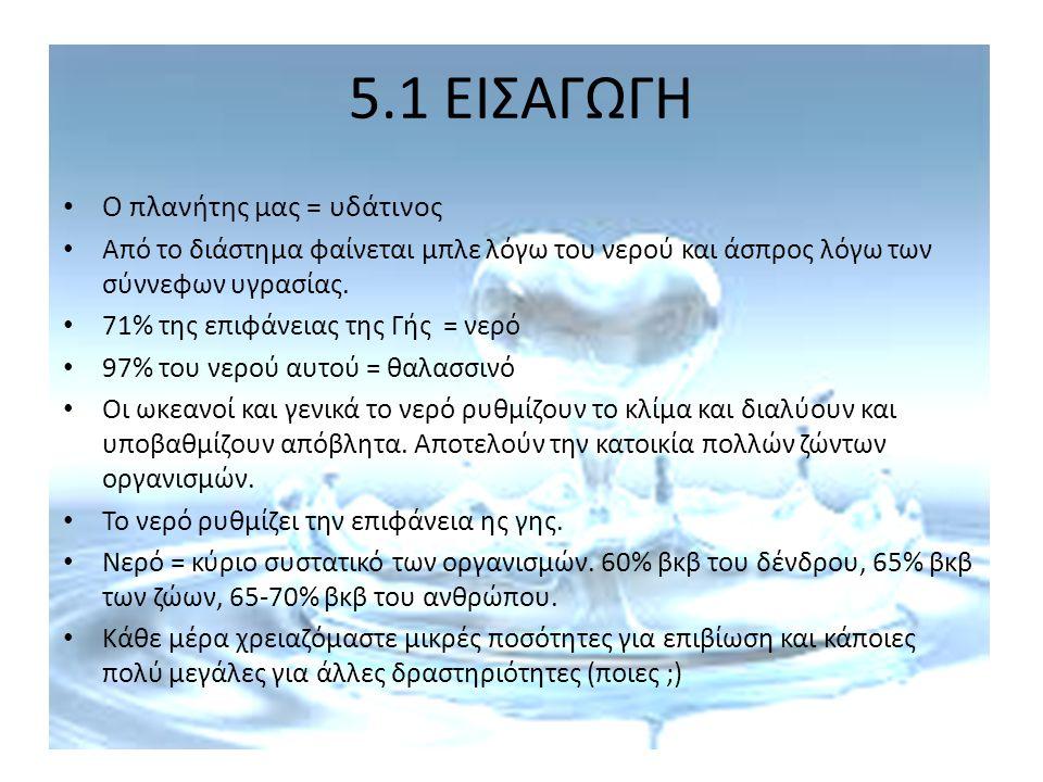 5.1 ΕΙΣΑΓΩΓΗ Ο πλανήτης μας = υδάτινος
