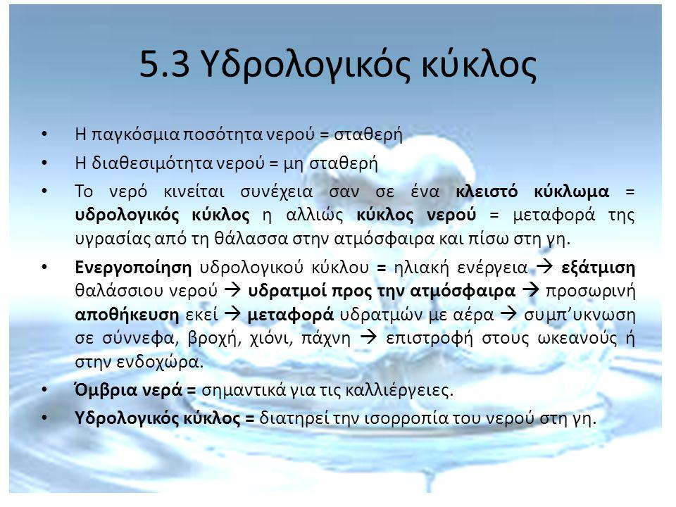 5.3 Υδρολογικός κύκλος Η παγκόσμια ποσότητα νερού = σταθερή