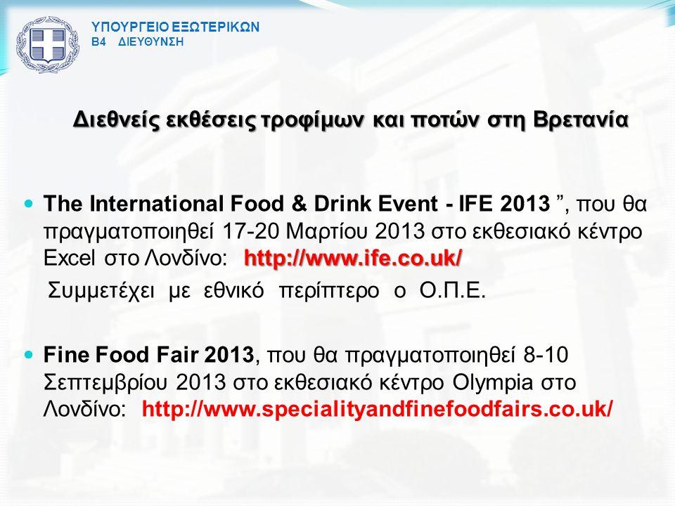 Διεθνείς εκθέσεις τροφίμων και ποτών στη Βρετανία