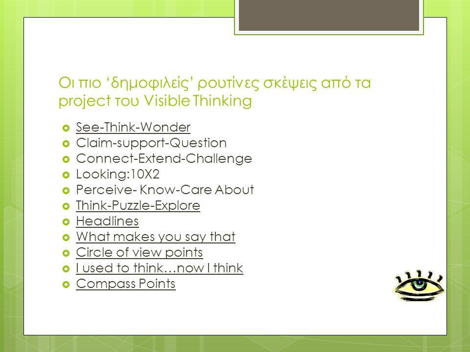 Οι πιο 'δημοφιλείς' ρουτίνες σκέψεις από τα project του Visible Thinking