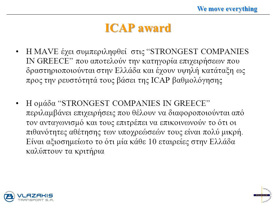 We move everything ICAP award.
