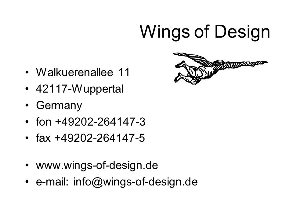 Wings of Design Walkuerenallee 11 42117-Wuppertal Germany