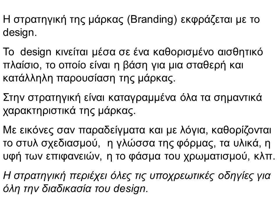Η στρατηγική της μάρκας (Branding) εκφράζεται με το design.