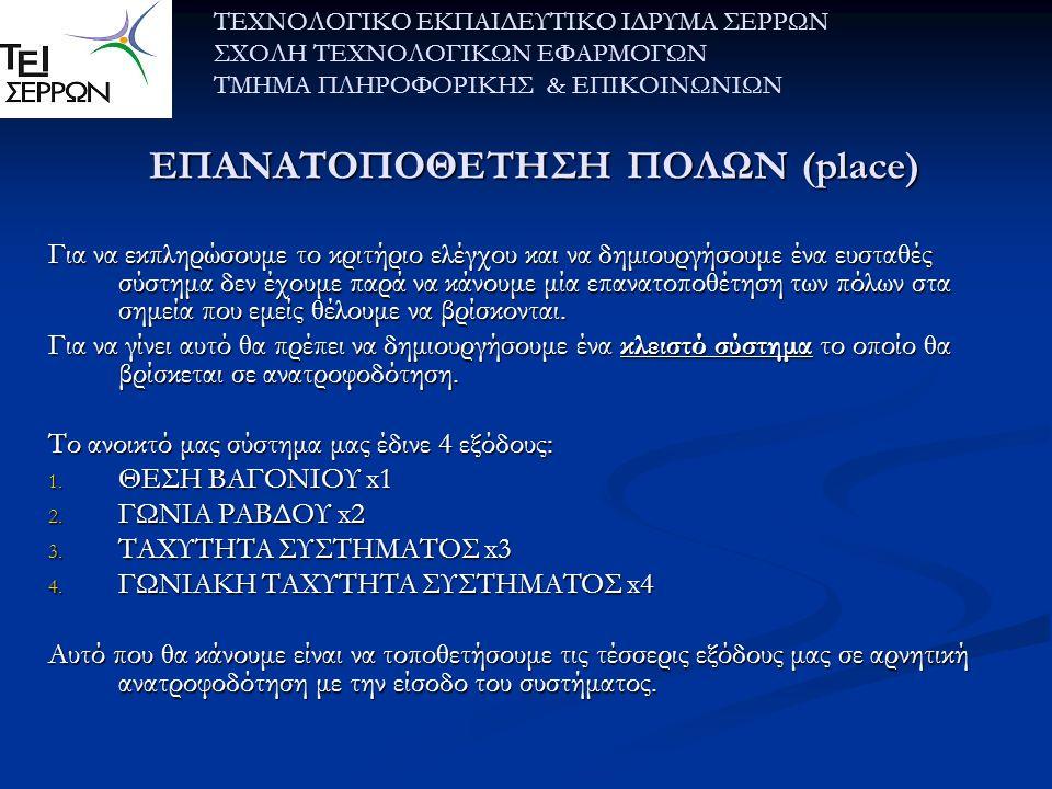 ΕΠΑΝΑΤΟΠΟΘΕΤΗΣΗ ΠΟΛΩΝ (place)