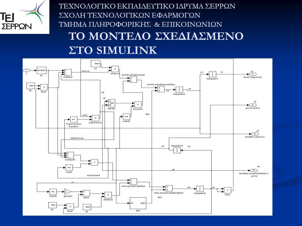 TO ΜΟΝΤΕΛΟ ΣΧΕΔΙΑΣΜΕΝΟ ΣΤΟ SIMULINK