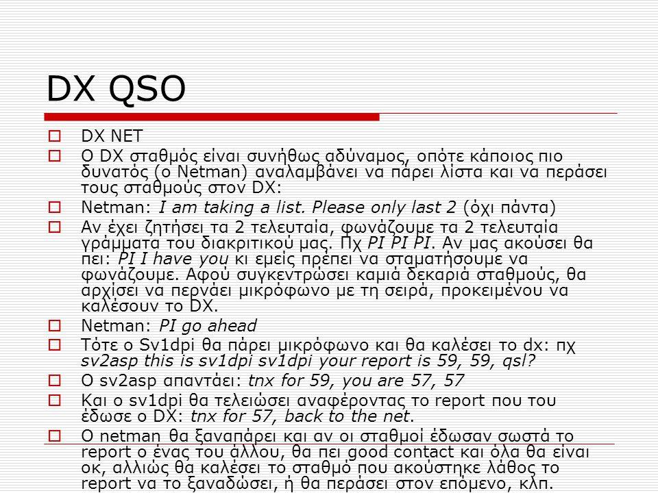 DX QSO DX NET.