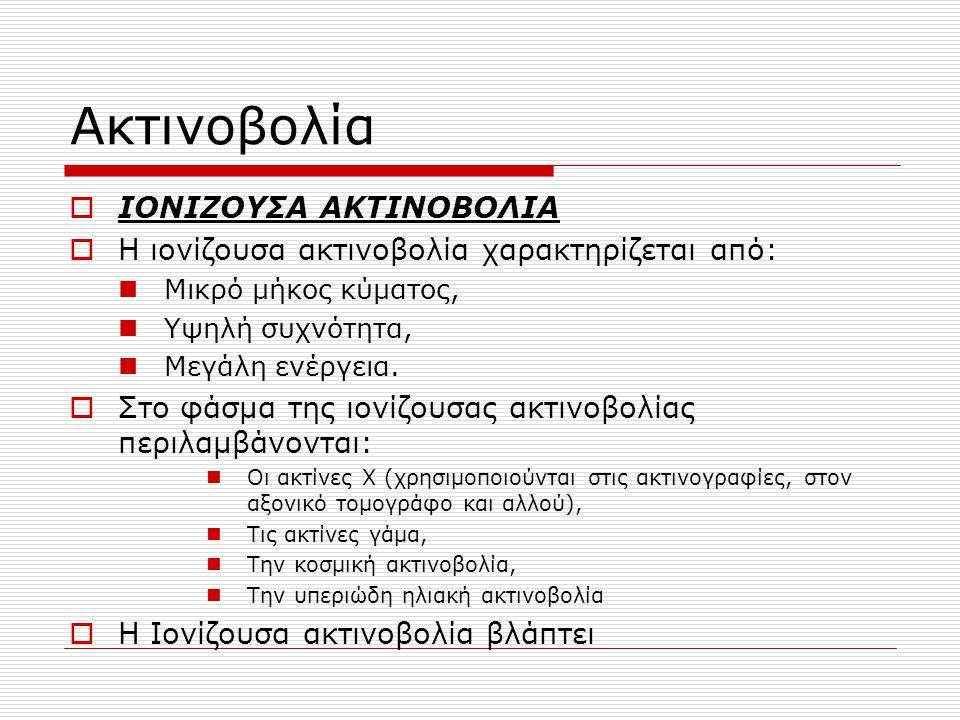 Ακτινοβολία ΙΟΝΙΖΟΥΣΑ ΑΚΤΙΝΟΒΟΛΙΑ