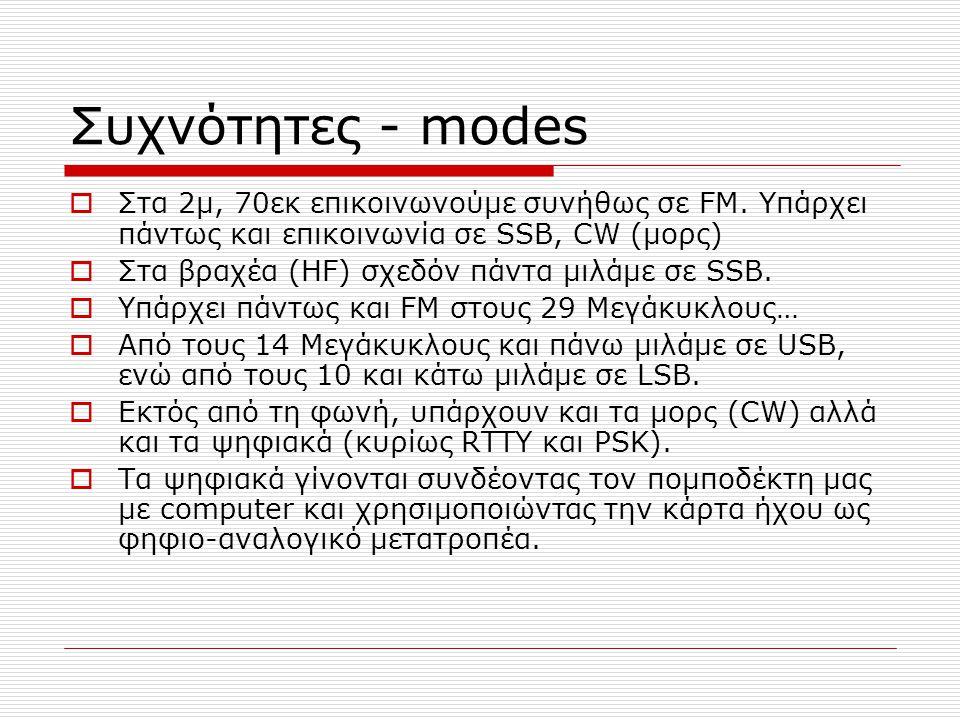Συχνότητες - modes Στα 2μ, 70εκ επικοινωνούμε συνήθως σε FM. Υπάρχει πάντως και επικοινωνία σε SSB, CW (μορς)