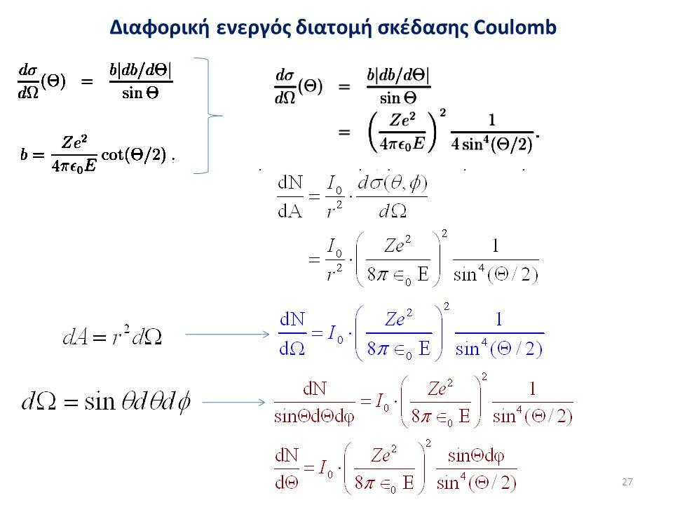Διαφορική ενεργός διατομή σκέδασης Coulomb