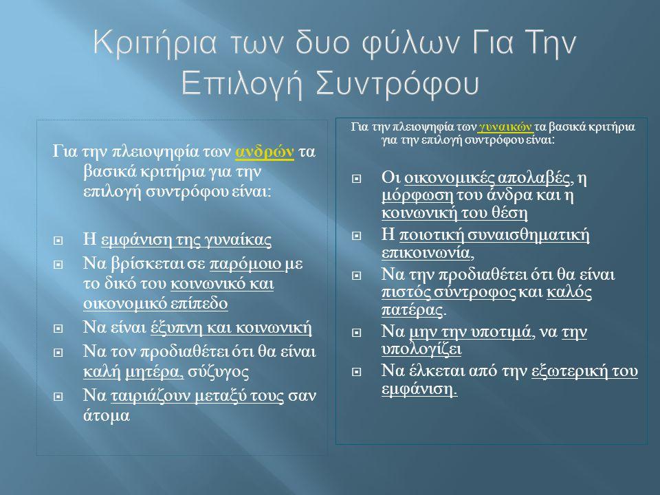 Κριτήρια των δυο φύλων Για Την Επιλογή Συντρόφου